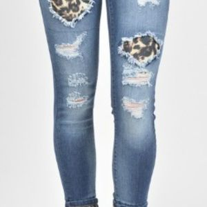 Denim - NEW Distressed Jeans with Leopard Inserts